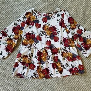 3/$12 Time and Tru Floral Ruffle Bell Sleeve Top